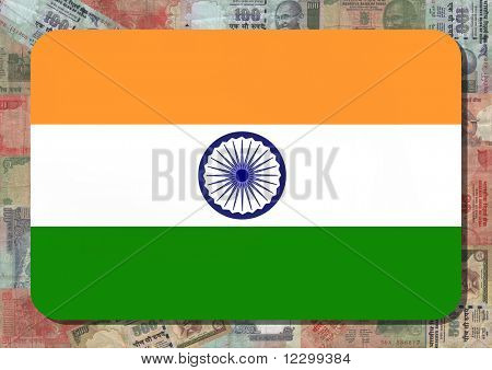 Rounded rectangle in colours of Indian flag with Rupees illustration