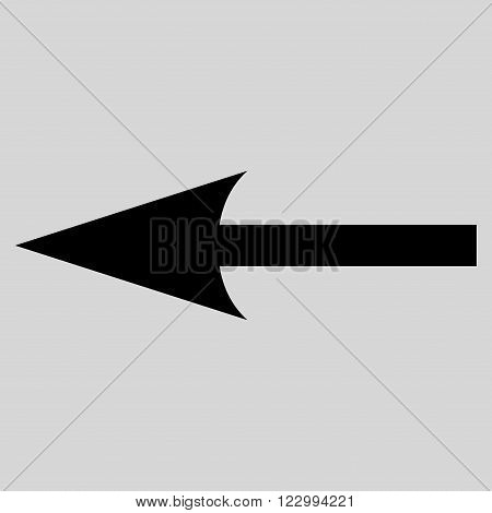Sharp Arrow Left vector icon. Style is flat icon symbol, black color, light gray background.