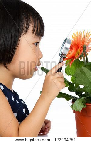 Asian Little Chinese Girl Looking At Flower Through A Magnifying Glass