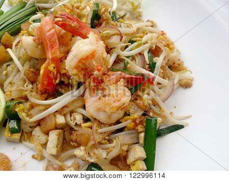 Thai food Pad thai, Pad Thai, stir-fried rice noodles with tofu. The one of Thailand's national main dish. the popular food in Thailand. Thai Fried Noodles. Vegetarian Food, healthy food