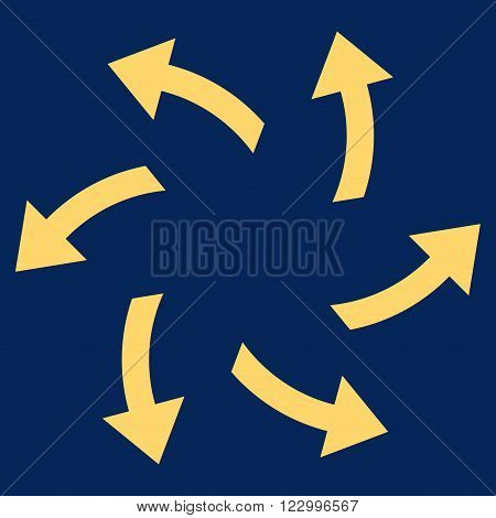 Centrifugal Arrows vector symbol. Image style is flat centrifugal arrows iconic symbol drawn with yellow color on a blue background.
