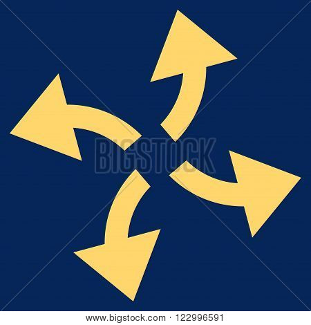Centrifugal Arrows vector icon. Image style is flat centrifugal arrows pictogram symbol drawn with yellow color on a blue background.