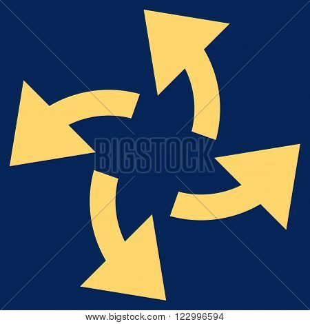Centrifugal Arrows vector pictogram. Image style is flat centrifugal arrows iconic symbol drawn with yellow color on a blue background.