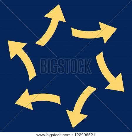 Centrifugal Arrows vector pictogram. Image style is flat centrifugal arrows pictogram symbol drawn with yellow color on a blue background.