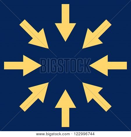 Compact Arrows vector pictogram. Image style is flat compact arrows iconic symbol drawn with yellow color on a blue background.