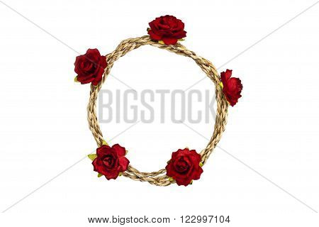 Rope loop with red rose on white background