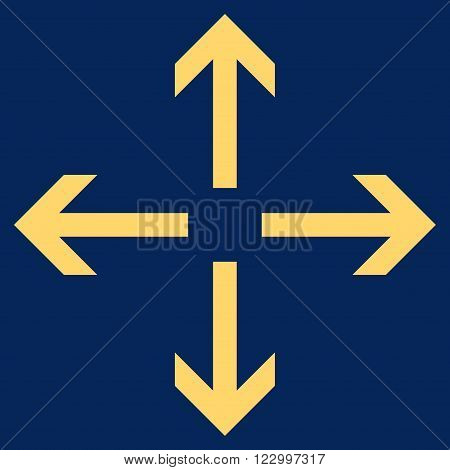Expand Arrows vector icon. Image style is flat expand arrows iconic symbol drawn with yellow color on a blue background.