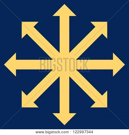 Expand Arrows vector icon. Image style is flat expand arrows pictogram symbol drawn with yellow color on a blue background.