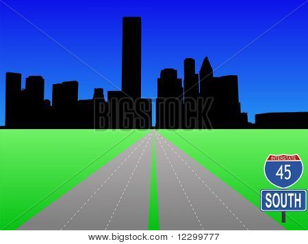 empty freeway leading to Houston skyline illustration JPEG