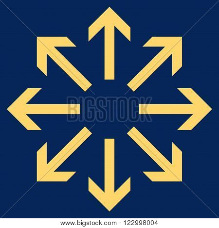 Radial Arrows vector icon. Image style is flat radial arrows icon symbol drawn with yellow color on a blue background.