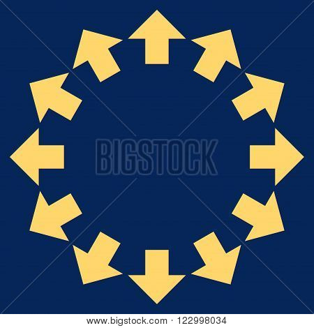 Radial Arrows vector pictogram. Image style is flat radial arrows icon symbol drawn with yellow color on a blue background.