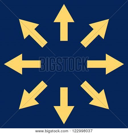 Radial Arrows vector icon. Image style is flat radial arrows pictogram symbol drawn with yellow color on a blue background.