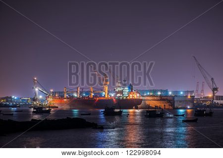Nice scene of Lamchabang Shipyard, Chonburi province Thailand.