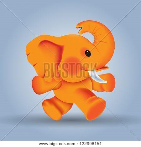 happy orange walking elephant, character, cartoon, african