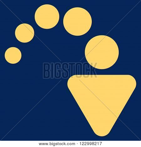 Redo vector icon symbol. Image style is flat redo pictogram symbol drawn with yellow color on a blue background.