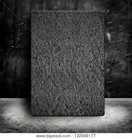 Stone block in Empty Grunge concrete wall and cement floor,concept presentation ,Mock up,business presentation template