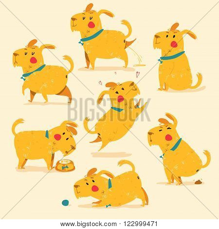 Different positions of dog , yellow. EPS 10