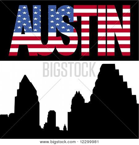 Austin Skyline with Austin flag text illustration