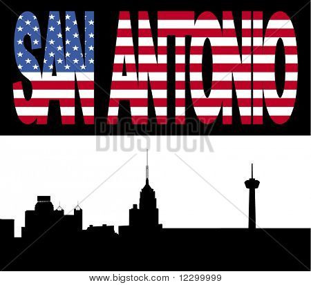 San Antonio Skyline with San Antonio flag text illustration