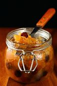 Homemade apple chutney in jar