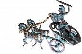 foto of chariot  - miniature copper sculpture of a with four - JPG