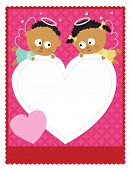 stock photo of baby twins  - template with baby angels holding a heart on pink - JPG