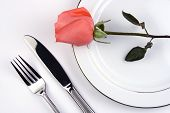 stock photo of pinky  - place setting with pinky rose in white background - JPG