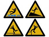 foto of slip hazard  - Caution signs figures falling tripping and slipping - JPG