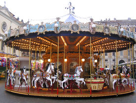 picture of merry-go-round  - evening picture of a merry go round - JPG