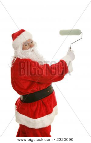 Santa Paints With Roller