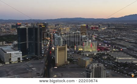 An Aerial View Of Las Vegas At Twilight