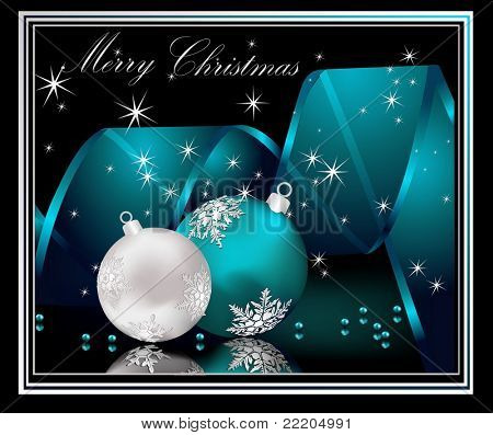 Merry Christmas  background silver and blue
