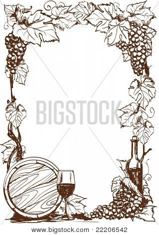 Hand drawn grape and bottle of wine. Vector decorative page template
