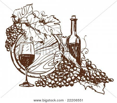Hand drawn grape and bottle of wine. Vector