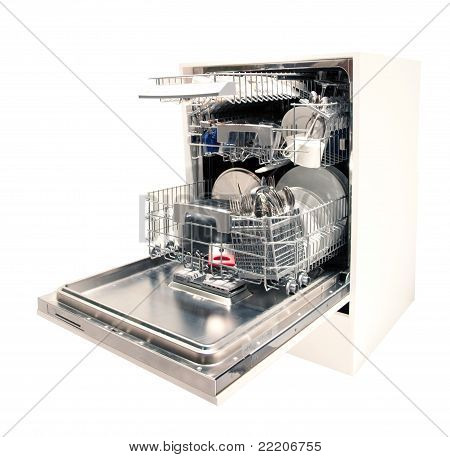 Modern dishwasher open