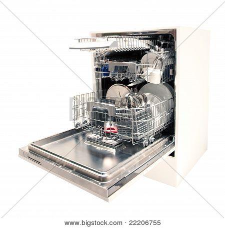 Modern dishwasher open