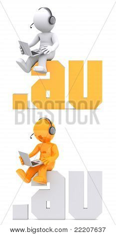 3D Character Sitting On .au Domain Sign.