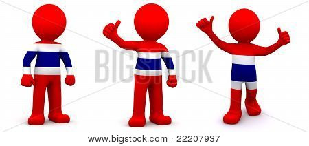 3D Character Textured With Flag Of Thailand