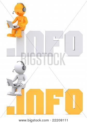3D Character Sitting On .info Domain Sign.