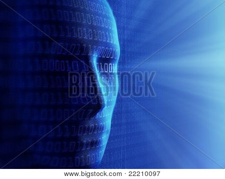 Conceptual background- Artificial intelligence / humans and cyber-business (detailed with millions of small binary code)