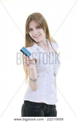 woman hold money credit card isolated on white bacground ready for online money transaction and shopping
