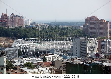 KYIV, UKRAINE - JULY 29: The Olympic Stadium Under Construction Ready For The UEFA EURO 2012. July 29, 2011, Kyiv, Ukraine