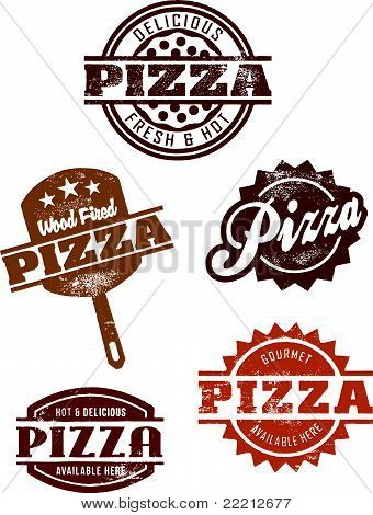 Vintage Pizza Stamps