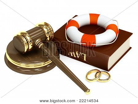 Conceptual image - marital agreement. Objects isolated over white
