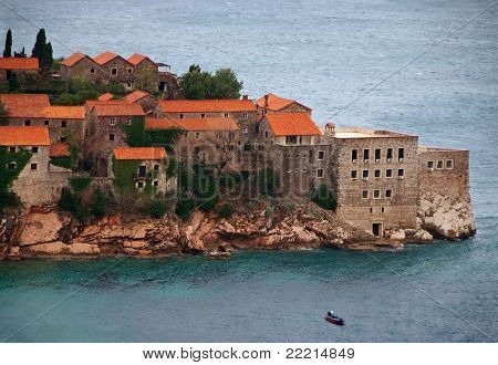 Sveti Stefan Peninsula In Montenegro On Rainy Day