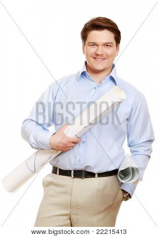 A smiling man with drawings standing isolated on white background