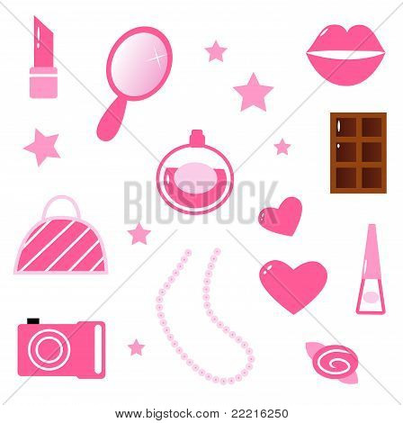 Girls Pink Icons And Elements Isolated On White.