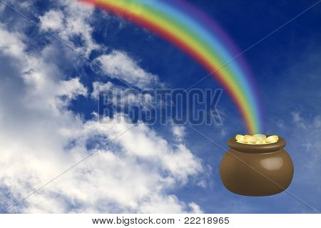 Pot with gold and a rainbow