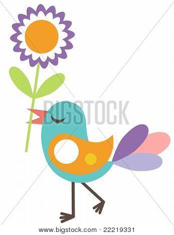 Cute bird with a flower