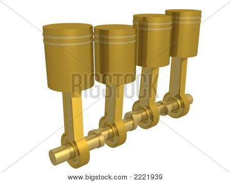 Four Pistons Of The Engine. 3D Image.